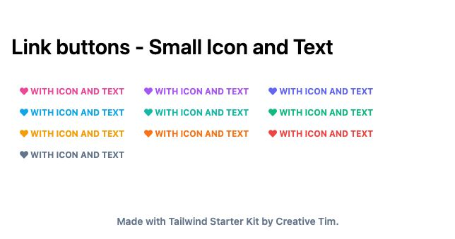 TailwindCSS Link Buttons - Small Icon and Text