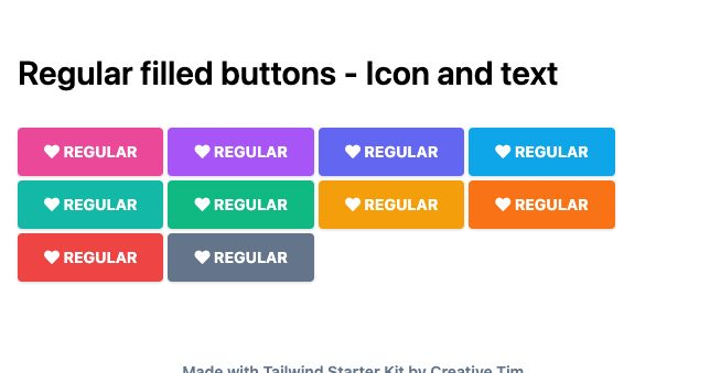 TailwindCSS Regular Filled Buttons - Icon and Text