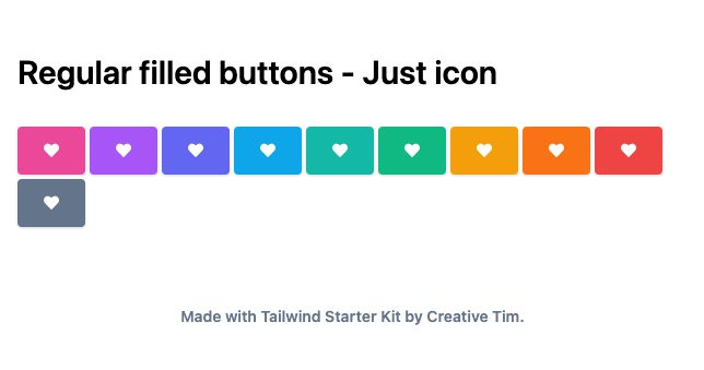 TailwindCSS Regular Filled Buttons - Just Icon