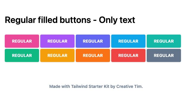 TailwindCSS Regular Filled Buttons - Only Text
