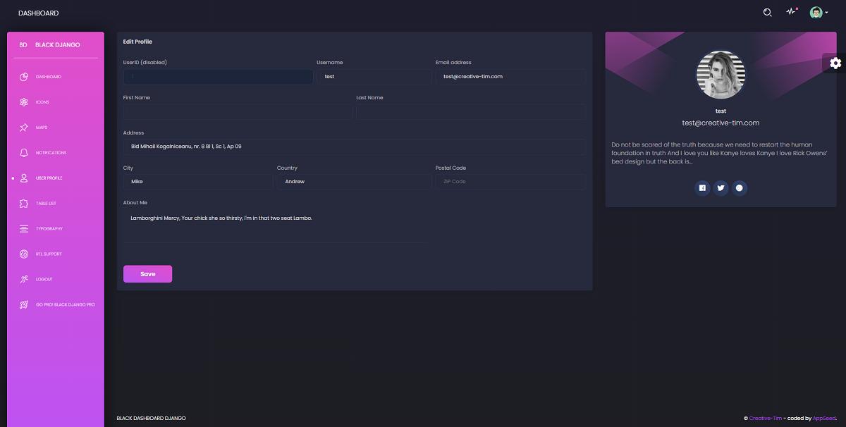 Django Template Black - User profile Page.