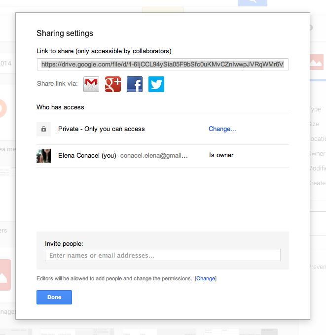 Google Drive Dialog Window