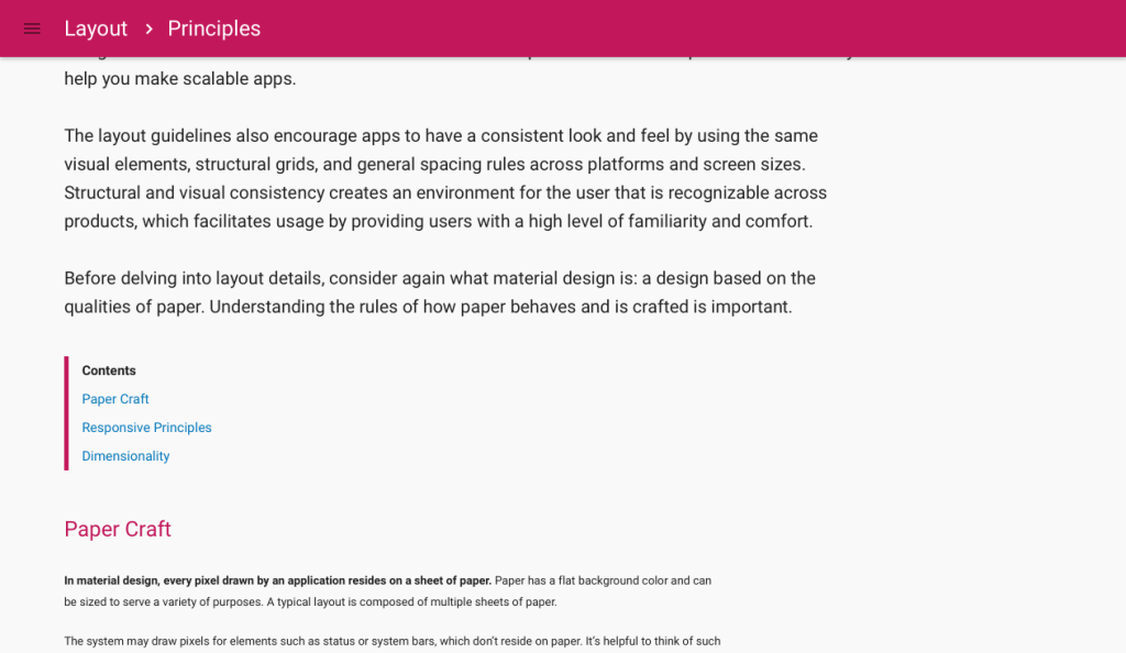 Google Material Design Table of Contents