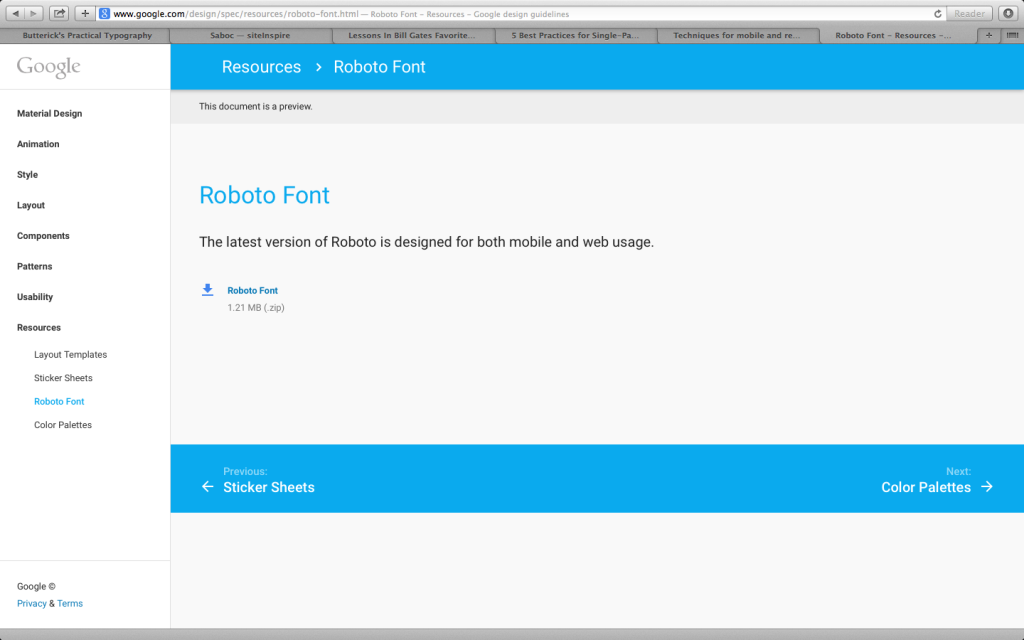 Google Material Design Sticky Footer