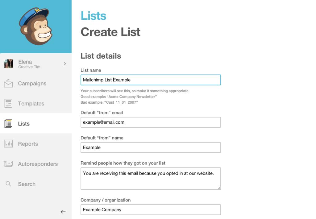 MailChimp Lists Page
