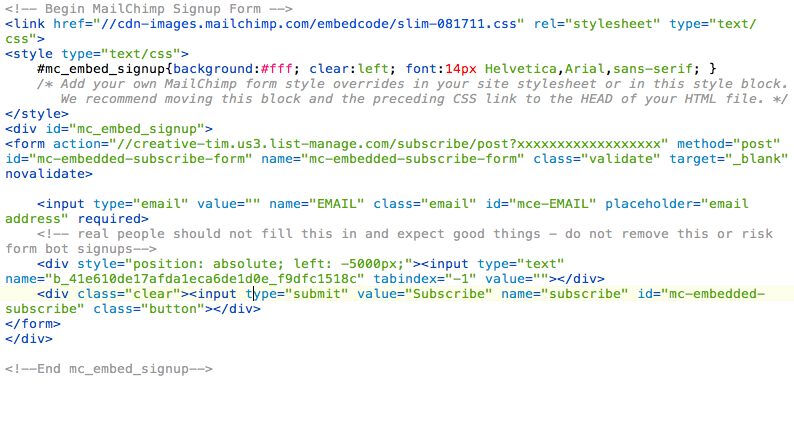 MailChimp Code