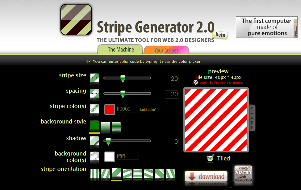 Front page screenshot of Stripe Color Generator