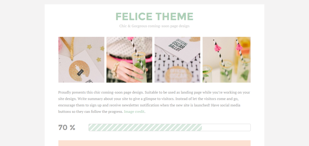 coming soon page - felice theme
