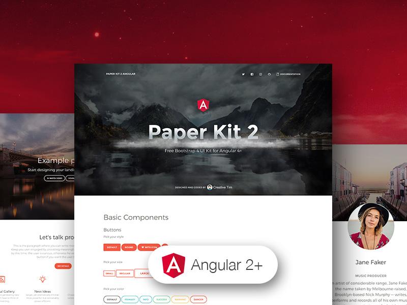 paper kit 2 angular-Bootstrap 4 UI Kit