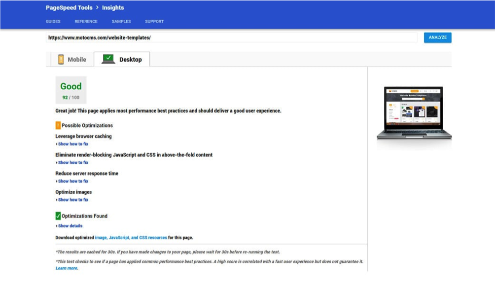 image showing page speed insights