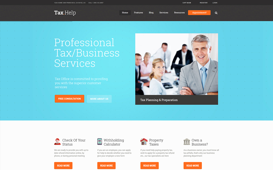 TaxHelp   Finance & Accounting Site Template