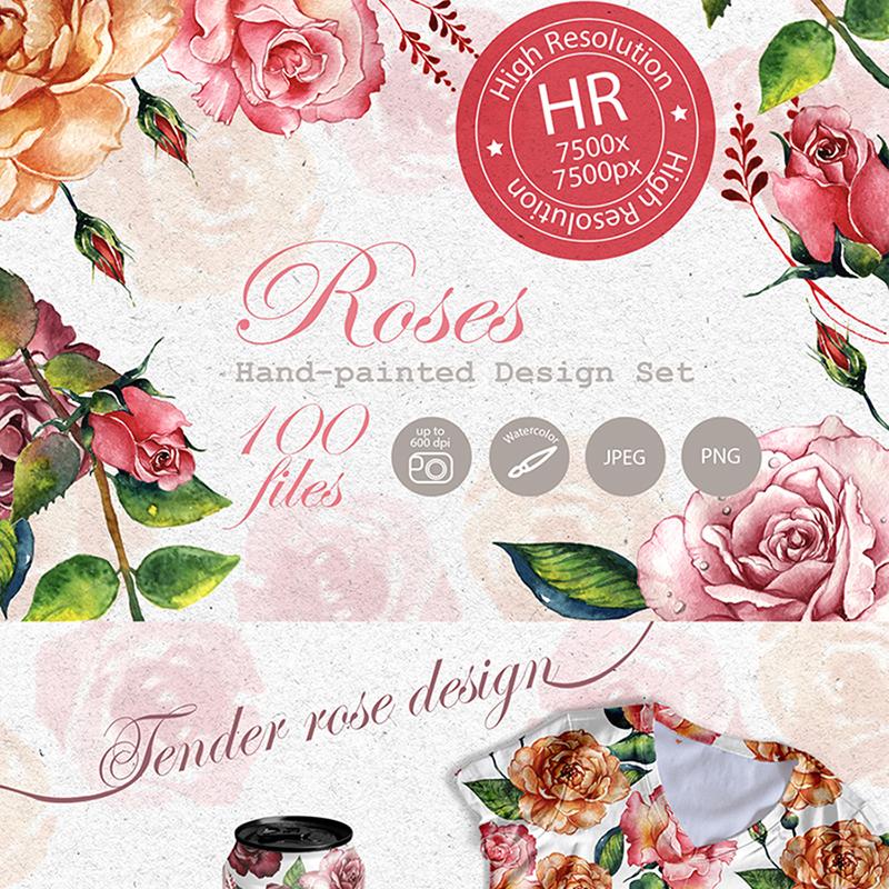 Stunning Roses PNG Watercolor Set Illustration