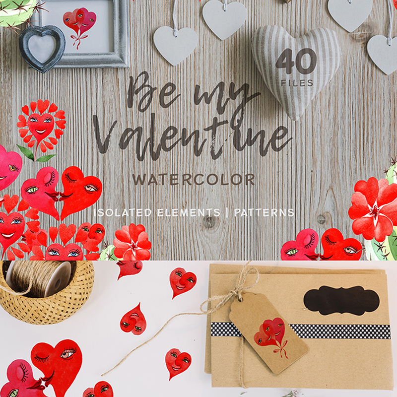 Valentine's Hearts Watercolor Png Illustration