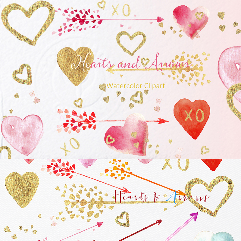 Hearts and Arrows Valentines Clipart