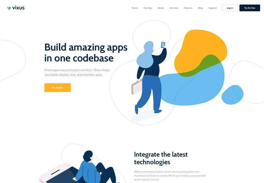 Vixus Startup & Mobile App WordPress Landing Page Theme