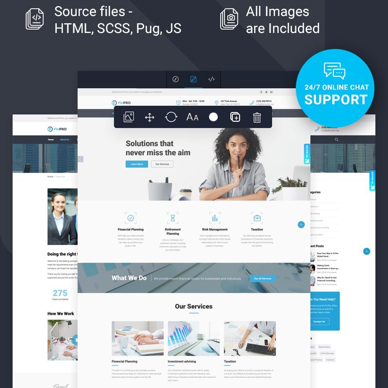Financial Advisor Multipage HTML Template with Novi builder