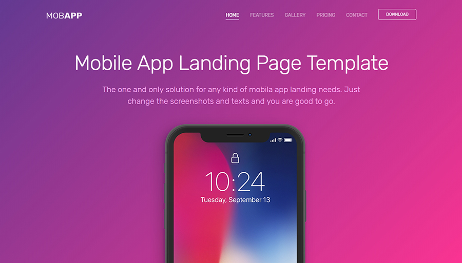 MobApp - Free Landing Page HTML Template
