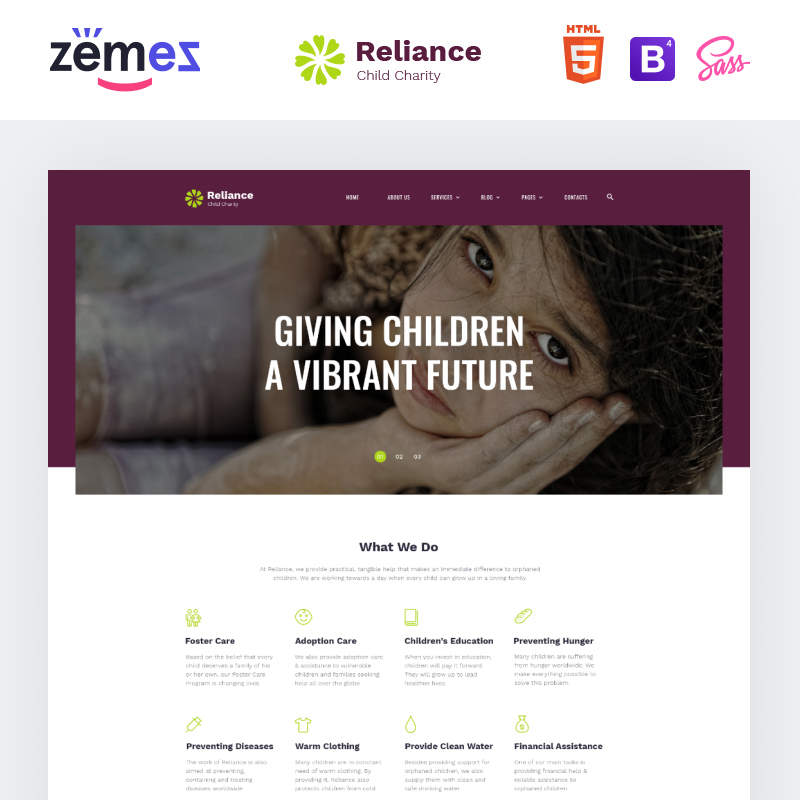 Reliance HTML template