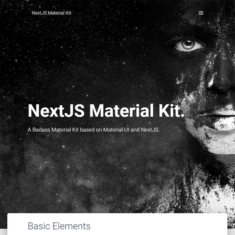 NextJS Material Kit Free NEXTJS Material-UI Kit