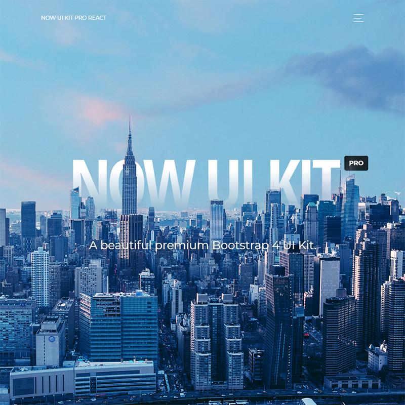 Now UI Kit PRO React Premium Bootstrap 4 And Reactstrap UI Kit