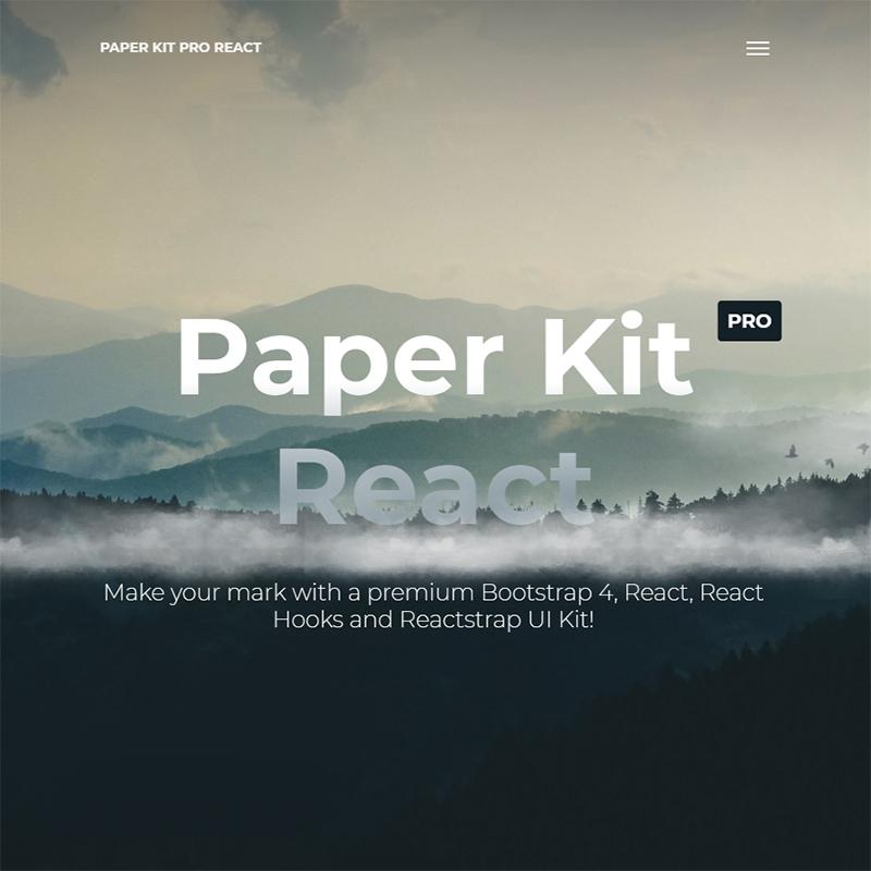 Paper Kit Pro React - Premium Bootstrap 4 And Reactstrap UI Kit