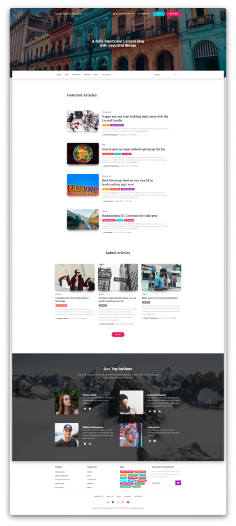 Material Blog Laravel Homepage