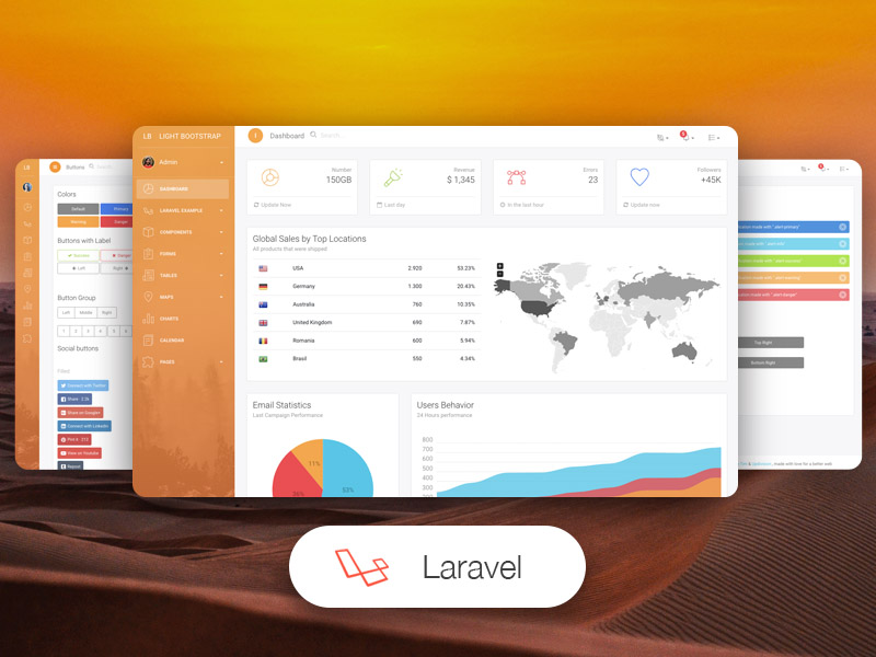 light bootstrap dashboard laravel pro