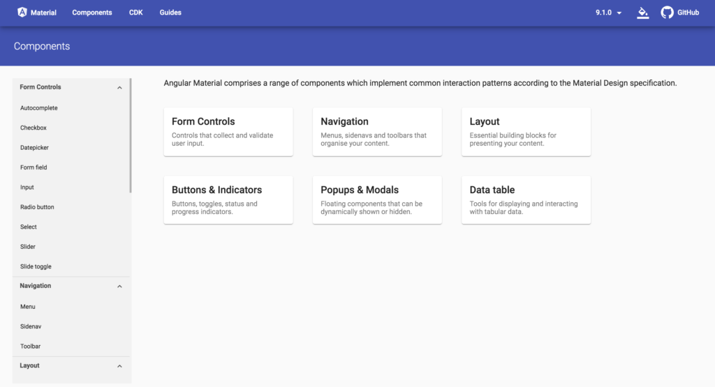 material angular components