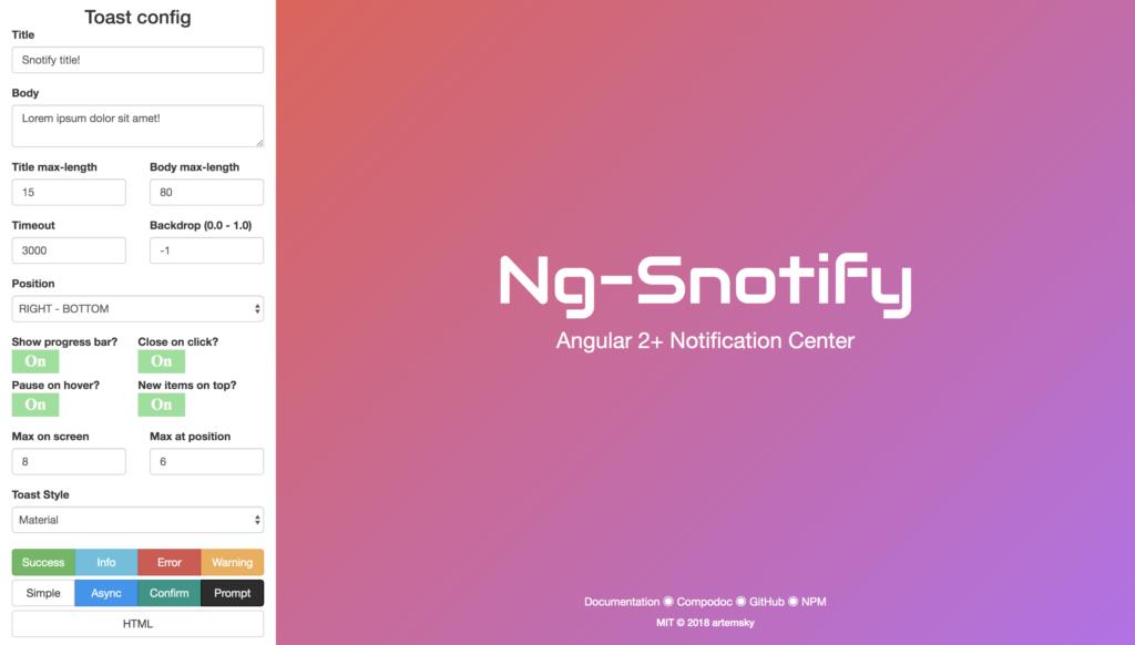 snotify angular components