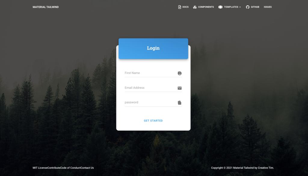 tailwind login page