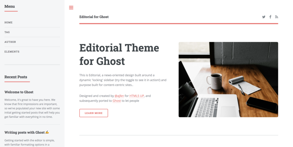 editorial ghost theme
