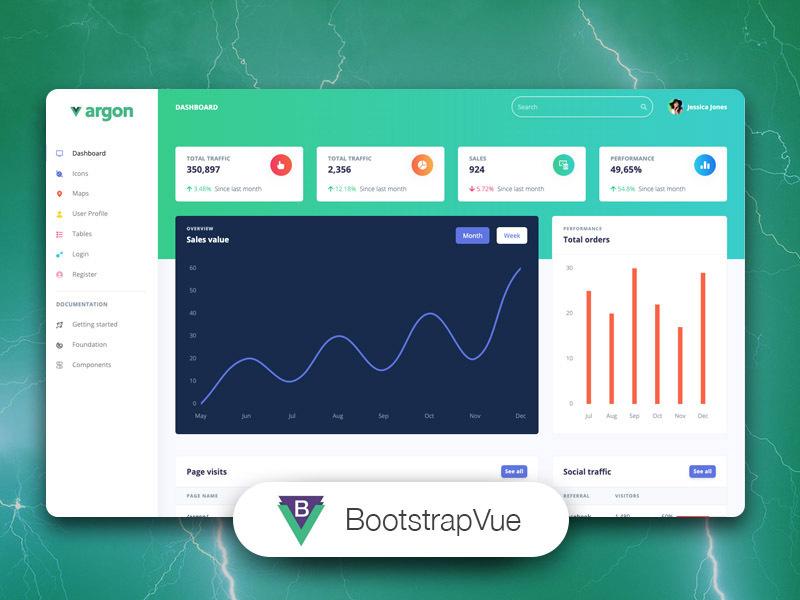 bootstrapvue argon dashboard free
