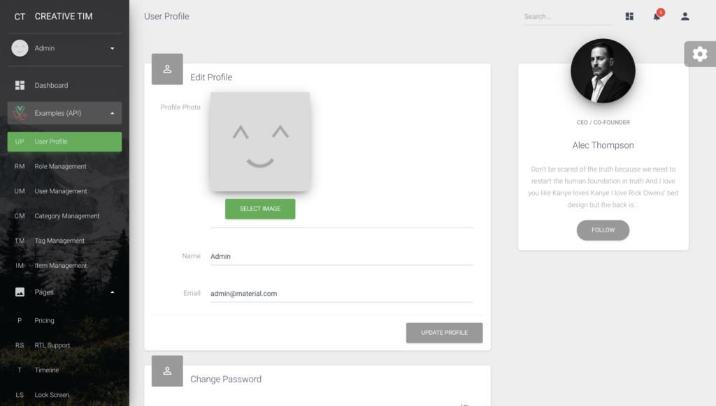 User profile preview