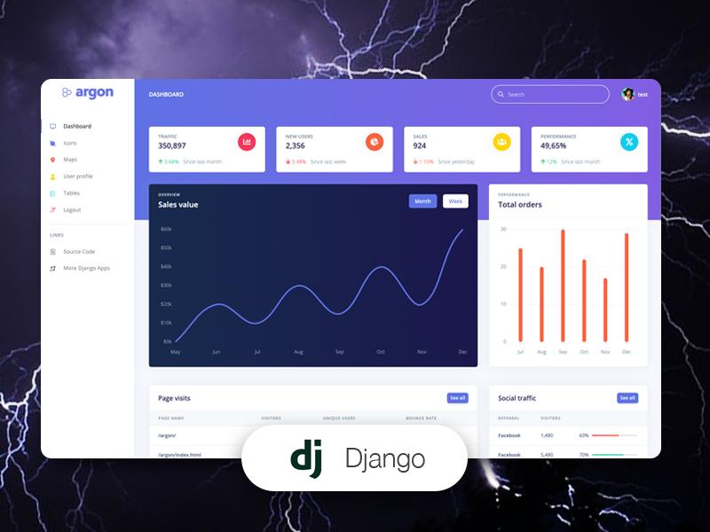 Django Template - Argon Dashboard coded in Django by Creative-Tim.