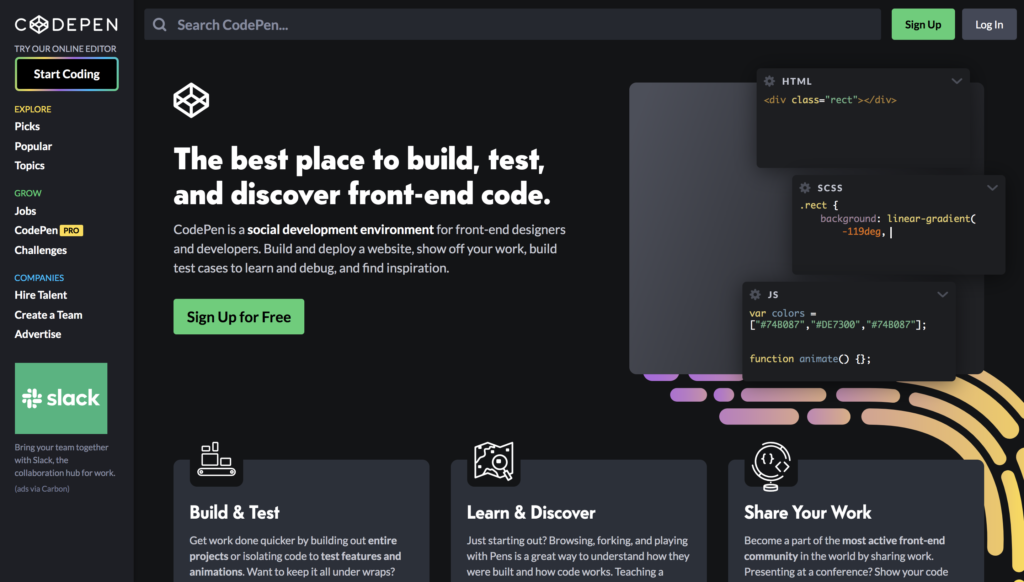 codepen code snippets