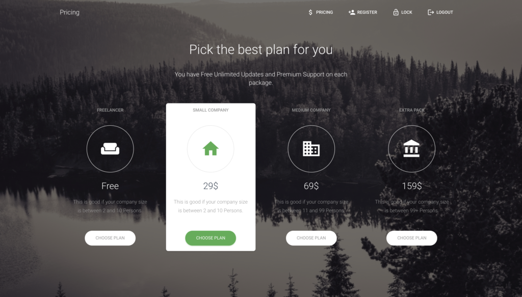 pricing page preview