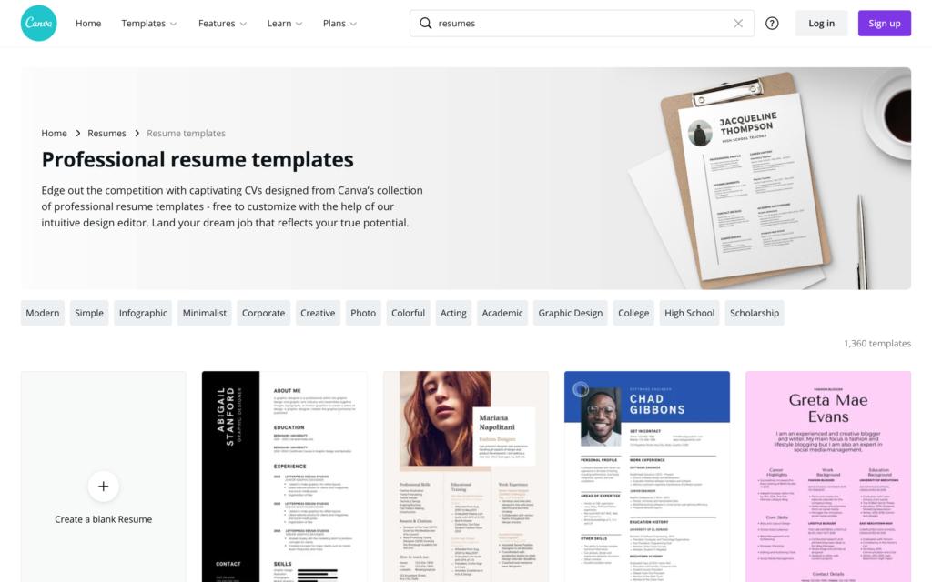 canva resume templates
